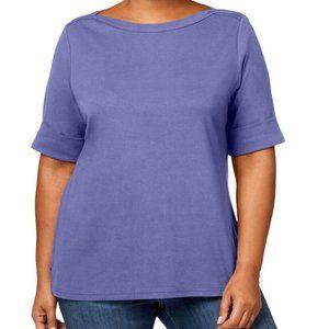 Karen Scott Cotton Boatneck T-Shirt